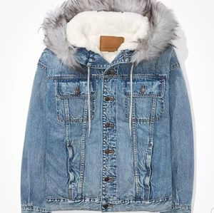 AE sherpa hooded denim oversized jacket